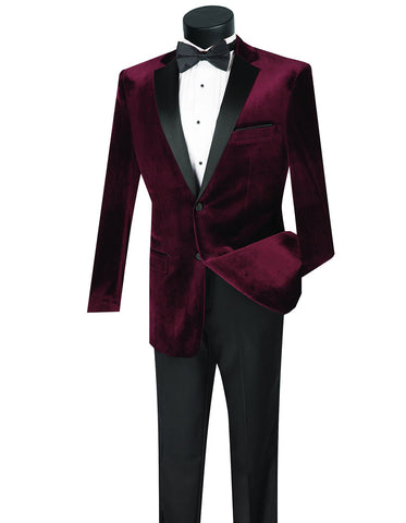 Mens Velvet Notch Prom Tuxedo in Burgundy