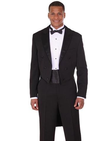 Mens Traditional Polyester Tail Tuxedo in Black