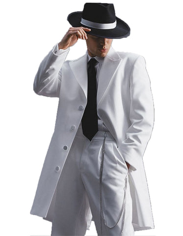 Mens Long Tuxedo Zoot Suit in White