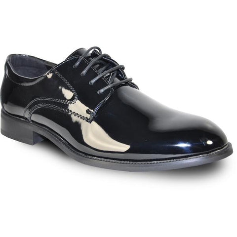 VANGELO Men Dress Shoe TAB Oxford Formal Tuxedo for Prom & Wedding Black Patent