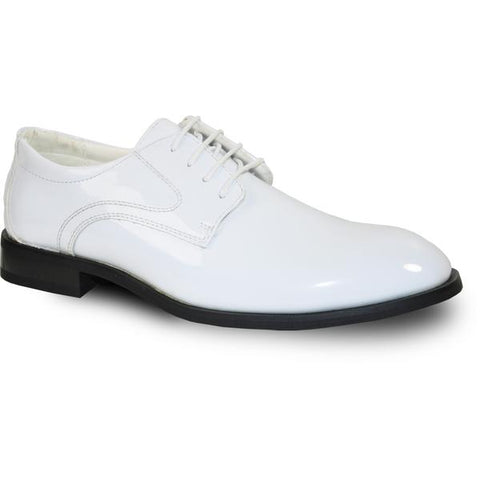 VANGELO Men Dress Shoe TAB Oxford Formal Tuxedo for Prom & Wedding White Patent