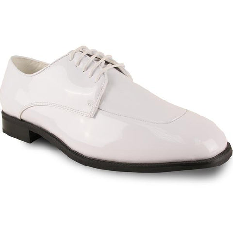 Men Dress Shoe TADI Oxford Formal Tuxedo for Prom & Wedding White Patent