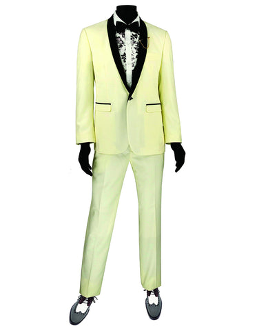 Mens Slim Fit Shawl Tuxedo in Ivory