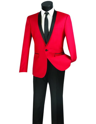 Mens Slim Fit Shawl Tuxedo in Red