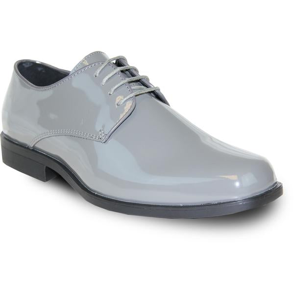 VANGELO Men Dress Shoe  Oxford Formal Tuxedo for Prom & Wedding Grey Patent