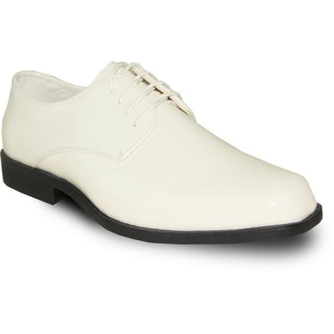 VANGELO Men Dress Shoe  Oxford Formal Tuxedo for Prom & Wedding Ivory Patent