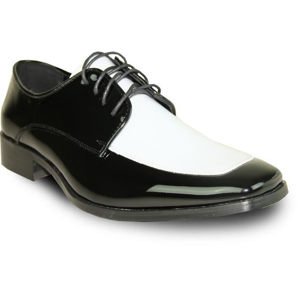 VANGELO Men Dress Shoe TUX-3 Oxford Formal Tuxedo for Prom & Wedding White/Black Patent