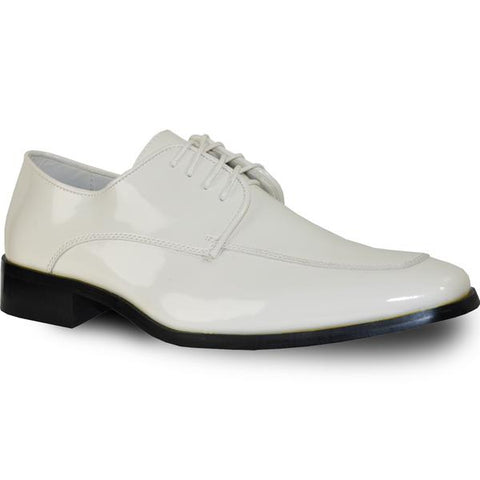 VANGELO Men Dress Shoe TUX-3 Oxford Formal Tuxedo for Prom & Wedding Ivory Patent