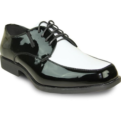 VANGELO Men Dress Shoe TUX-7 Oxford Formal Tuxedo for Prom & Wedding Black/White Patent