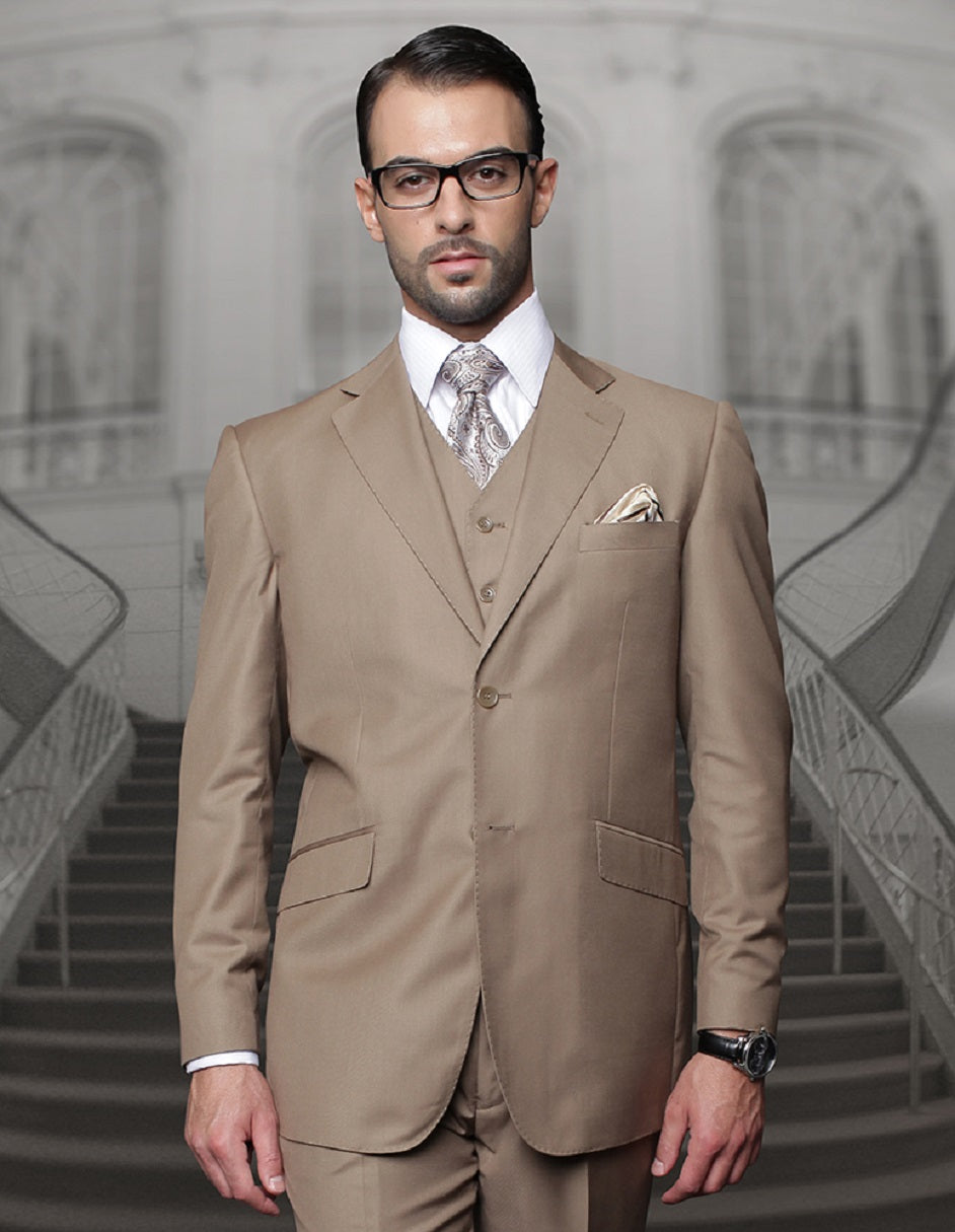 Mens Classic Fit Pleated Pant 2 Button Wool Suit in Bronze