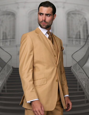 Mens Classic Fit Pleated Pant 2 Button Wool Suit in Camel