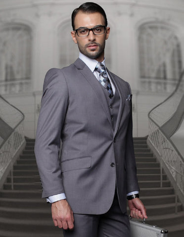 Mens Classic Fit Pleated Pant 2 Button Wool Suit in Heather Charcoal Grey