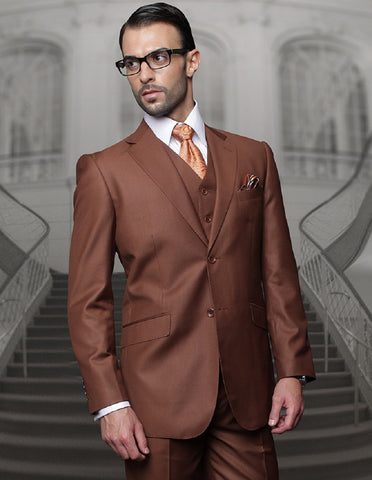 Mens Classic Fit Pleated Pant 2 Button Wool Suit in Copper