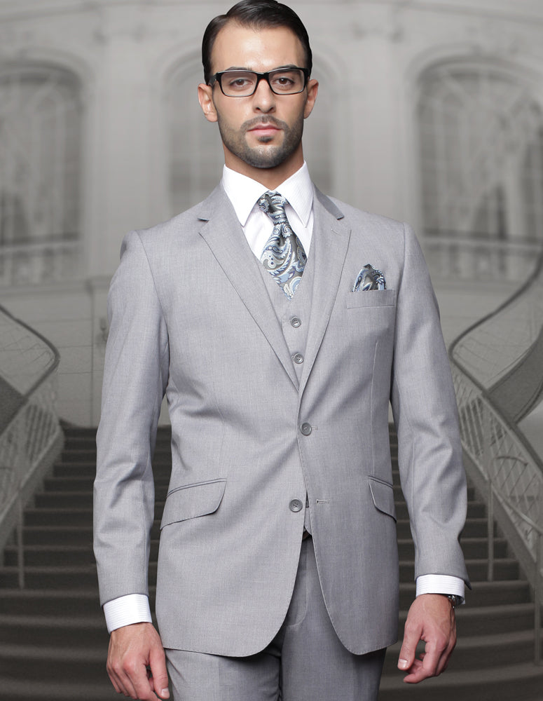 Mens Classic Fit Pleated Pant 2 Button Wool Suit in Grey