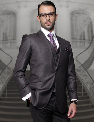 Mens Classic Fit Pleated Pant 2 Button Wool Suit in Charcoal Grey