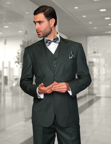 Mens Classic Fit Pleated Pant 2 Button Wool Suit in Hunter Green