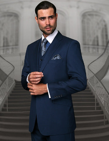 Mens Classic Fit Pleated Pant 2 Button Wool Suit in Indigo Blue