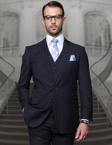 Mens Classic Fit Pleated Pant 2 Button Wool Suit in Navy Blue