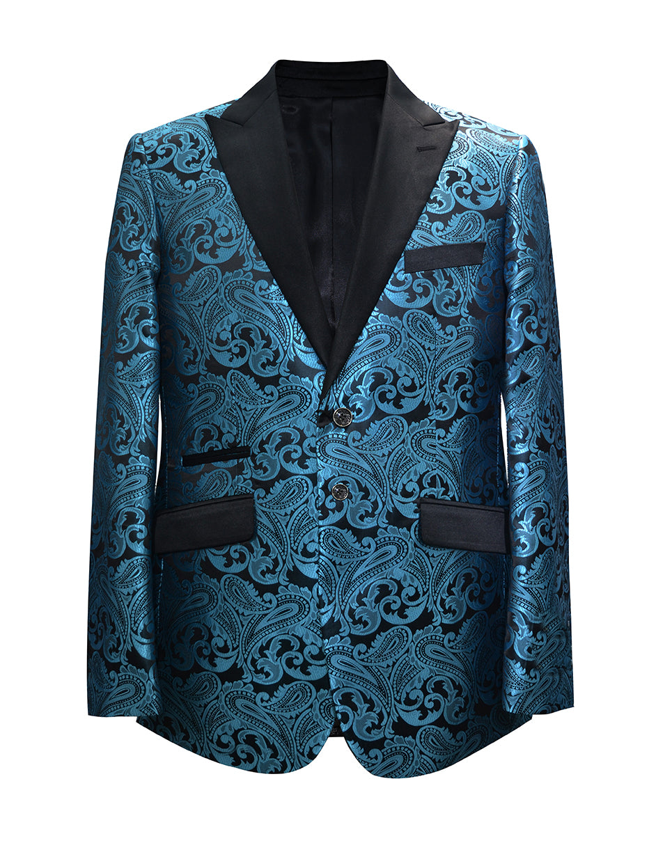 Mens Paisley Floral Tuxedo Jacket in Teal Blue & Black