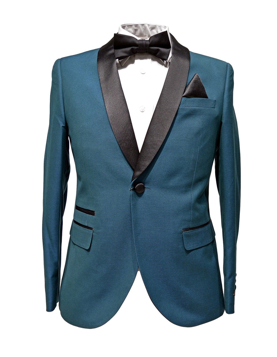 Mens Slim Fit 1 Button Shawl Lapel Tuxedo in Teal