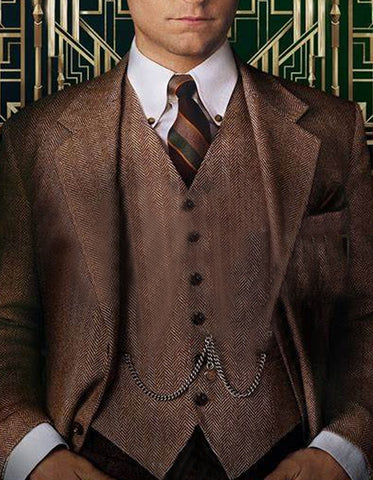 Mens Vested Great Gatsby Tweed Herringbone Tobey Maguire Suit in Light Brown