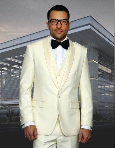 Mens 1 Button Shawl Lapel Vested Wool Prom | Wedding Tuxedo in Ivory