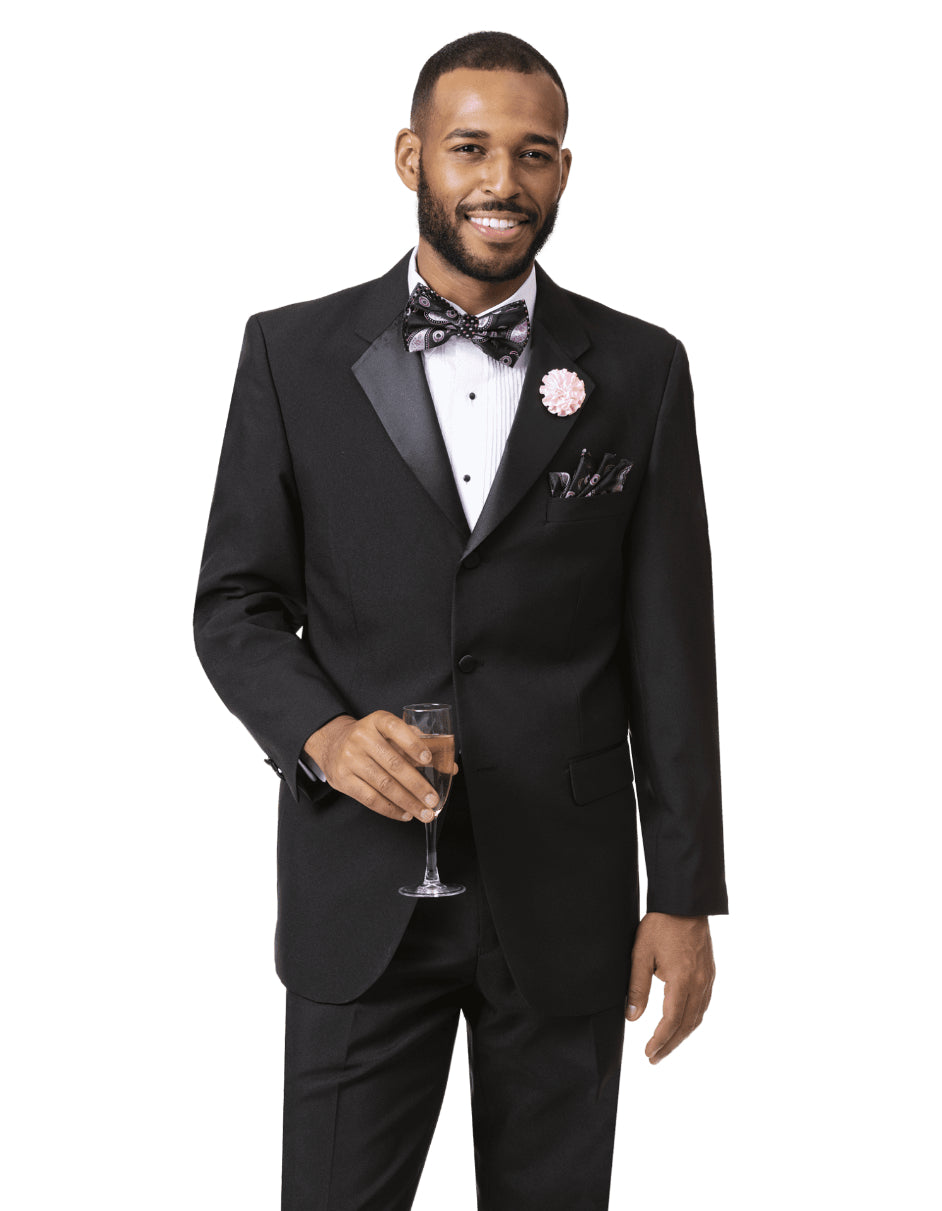 Mens Classic 3 Button Notch Lapel Tuxedo in Black
