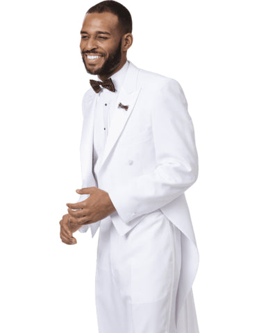 Mens Classic Microfiber Tail Tuxedo in White