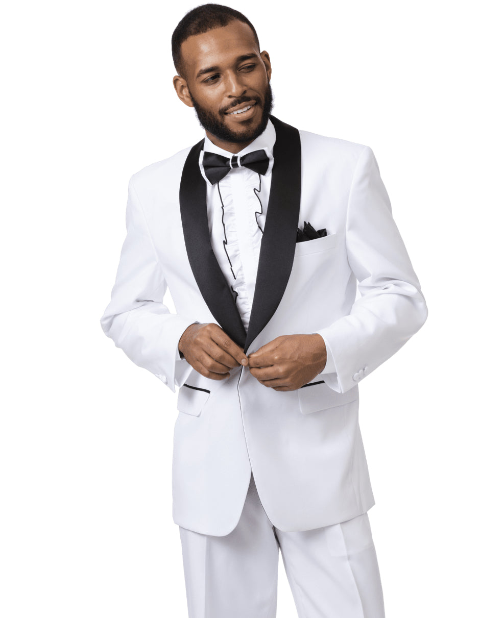 Mens Classic Microfiber Shawl Tuxedo in White & Black