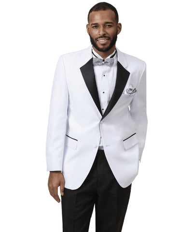 Mens Classic 2 Button Notch Lapel Tuxedo in White & Black