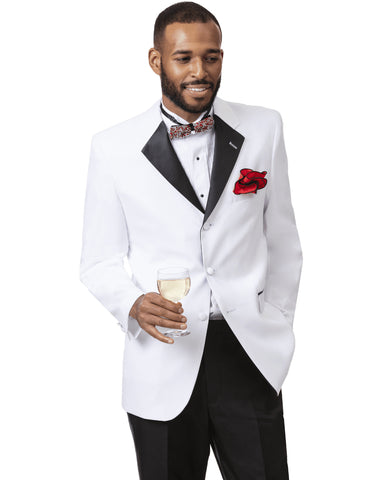 Mens Classic 3 Button Notch Lapel Tuxedo in White & Black