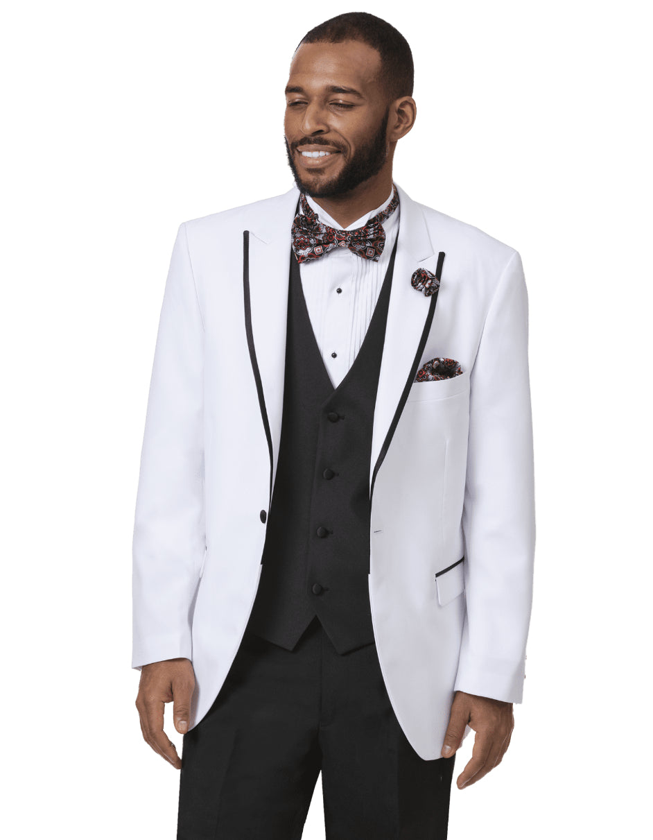 Mens Classic One Button Peak Tuxedo in White with Black Trim