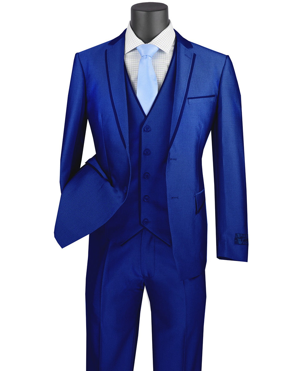Mens Ultra Slim Fit Sharkskin Tuxedo with Satin Trim in Blue