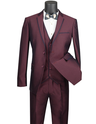 Mens Ultra Slim Fit Sharkskin Tuxedo with Satin Trim in Burgundy