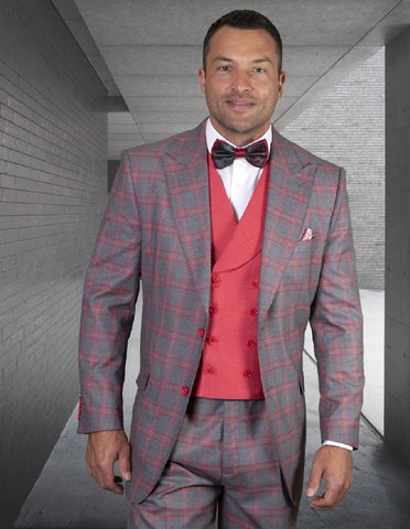 Mens 2 Button Classic Fit Wide Peak Lapel Vested Suit in Coral Windowpane