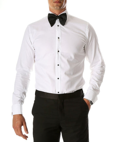 Mens Slim Fit Spread Collar Plain Front Tuxedo Shirt in White