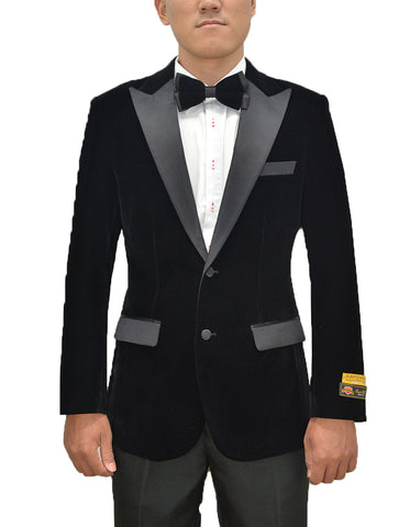 Mens Classic Velvet Tuxedo Dinner Jacket in Black