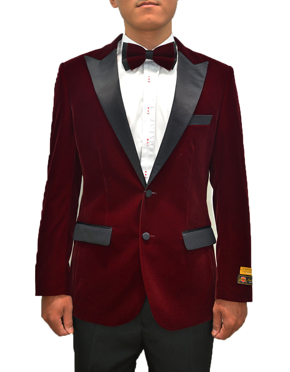 Mens Classic Velvet Tuxedo Dinner Jacket in Burgundy