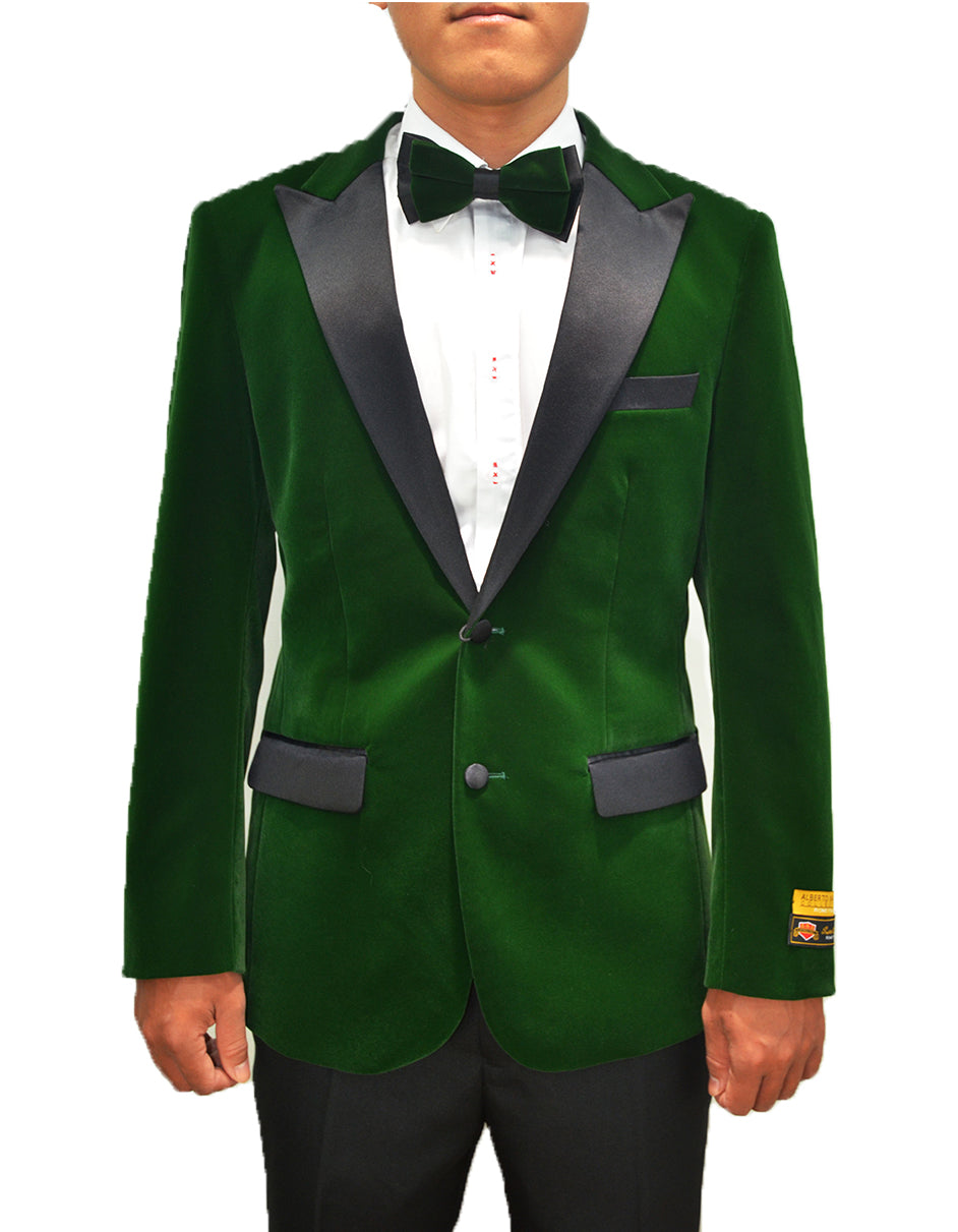 Mens Classic Velvet Tuxedo Dinner Jacket in Hunter Green