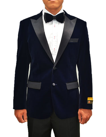 Mens Classic Velvet Tuxedo Dinner Jacket in Navy