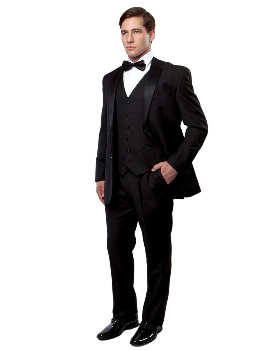 Mens Vested Modern Fit 2 Button Notch Wool Tuxedo in Black