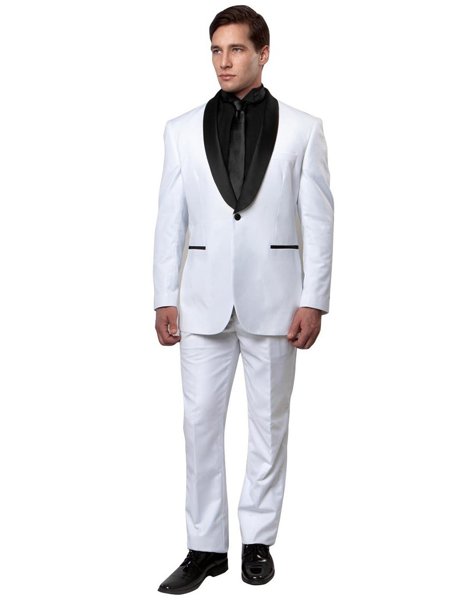 Mens Slim Fit Wool Shawl Tuxedo in White