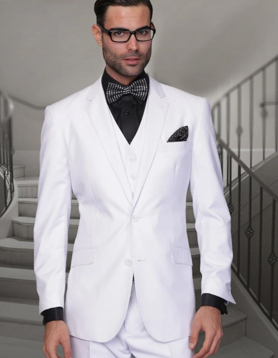 Mens High Quality 2 Button Wool Funeral Suit in White