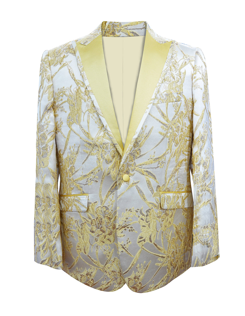 Mens Floral Explosion Peak Lapel Dinner Jacket in Gold