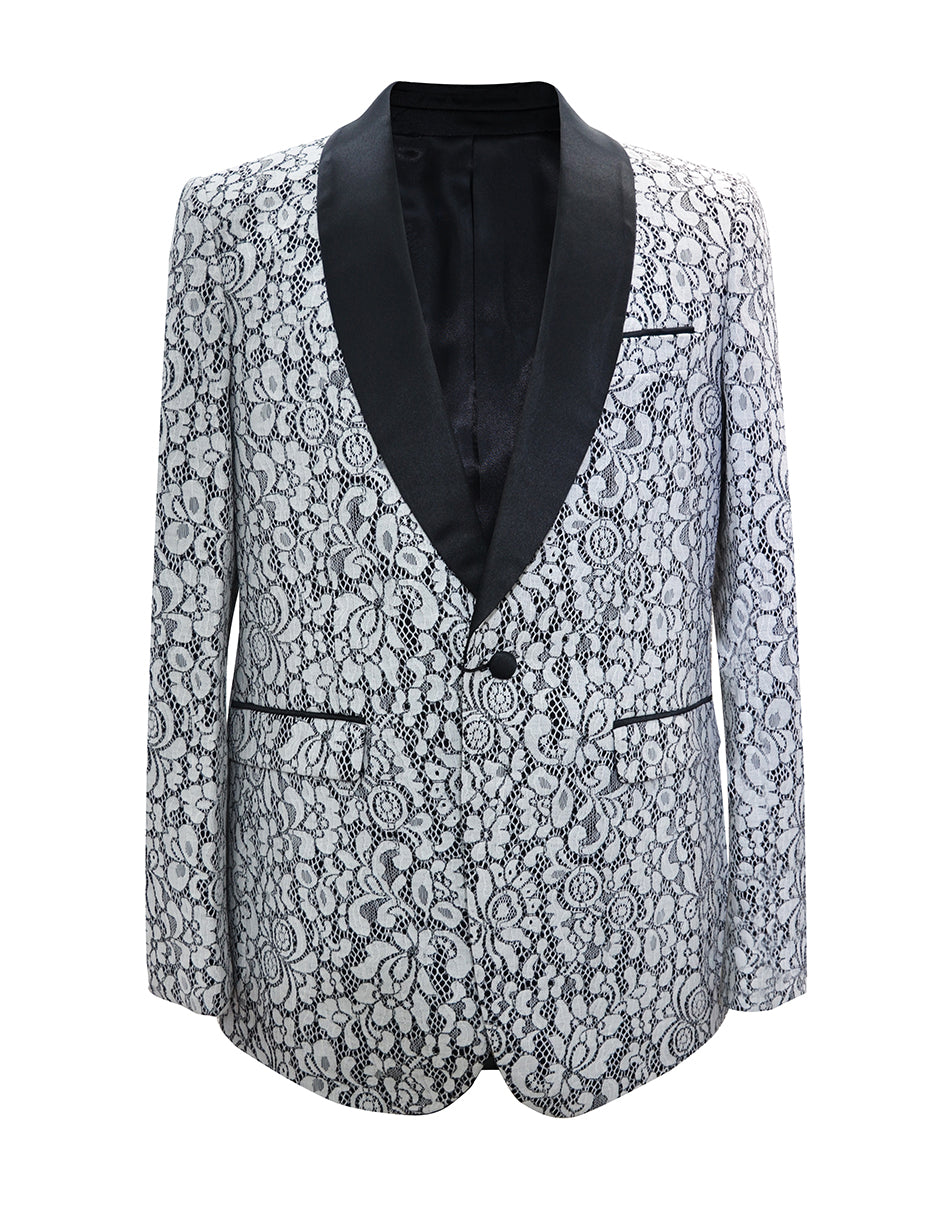 Mens Floral Pattern Lace Blazer in White & Black- Wedding - Prom