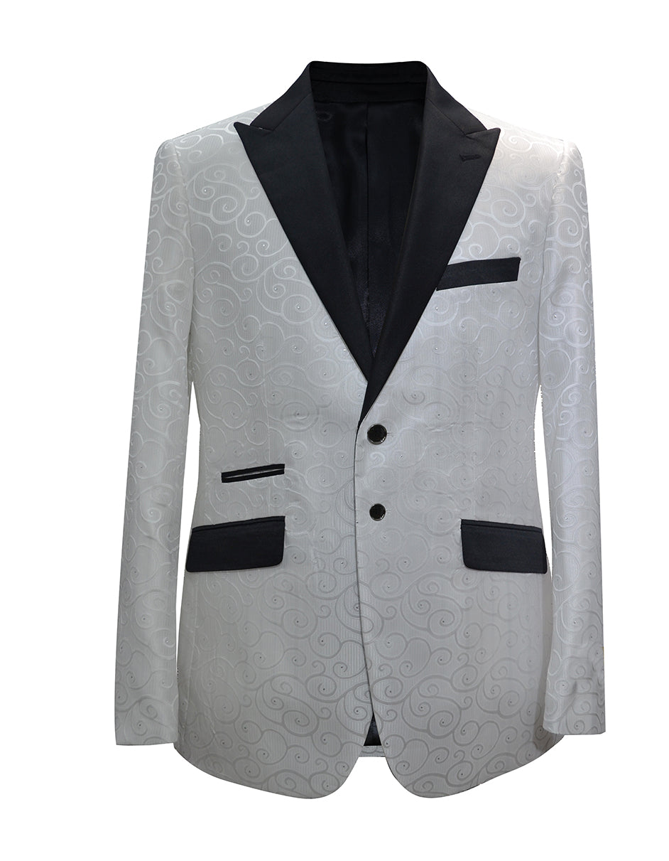 Mens Paisley Floral Tuxedo Jacket in White & Black