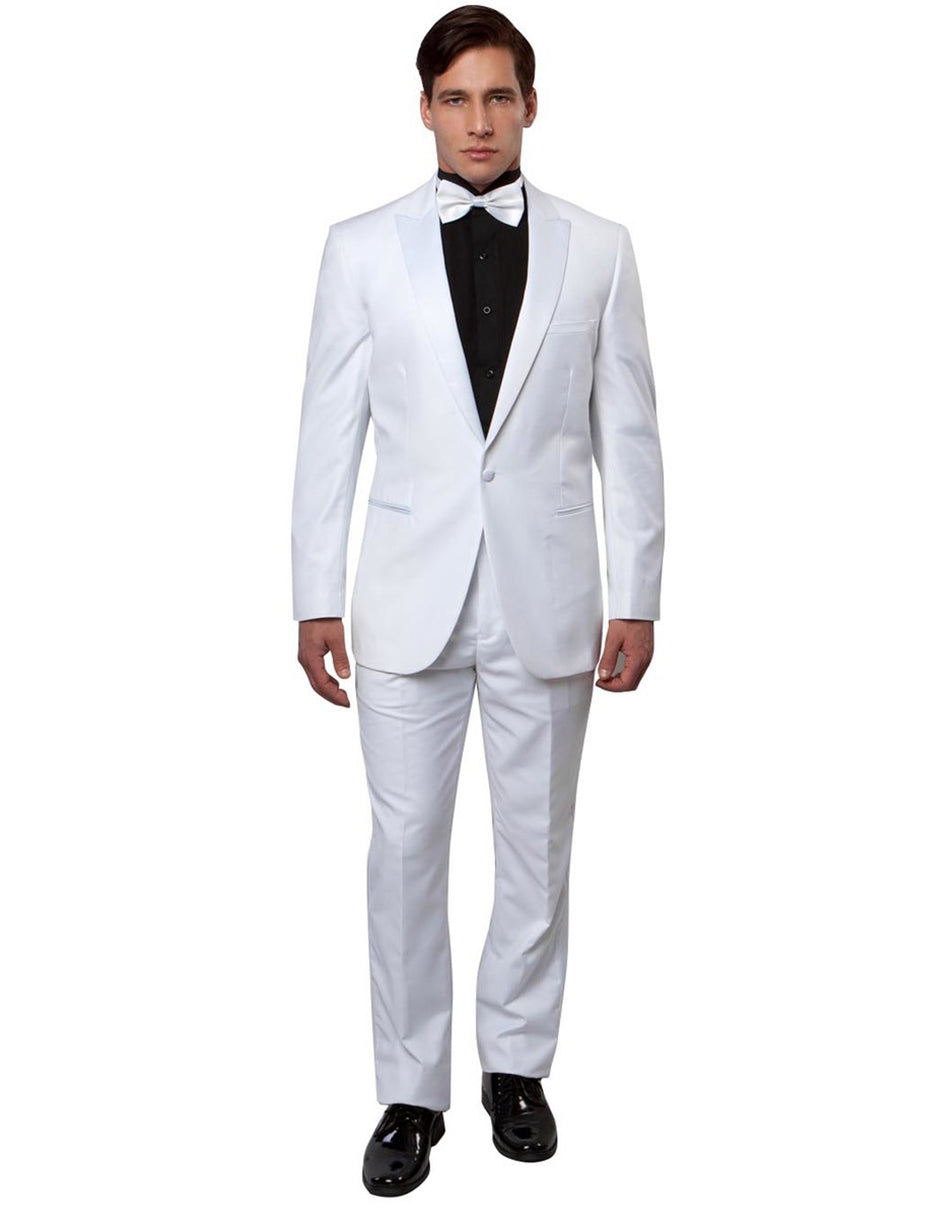 Mens Slim Fit Wool Peak Tuxedo in White