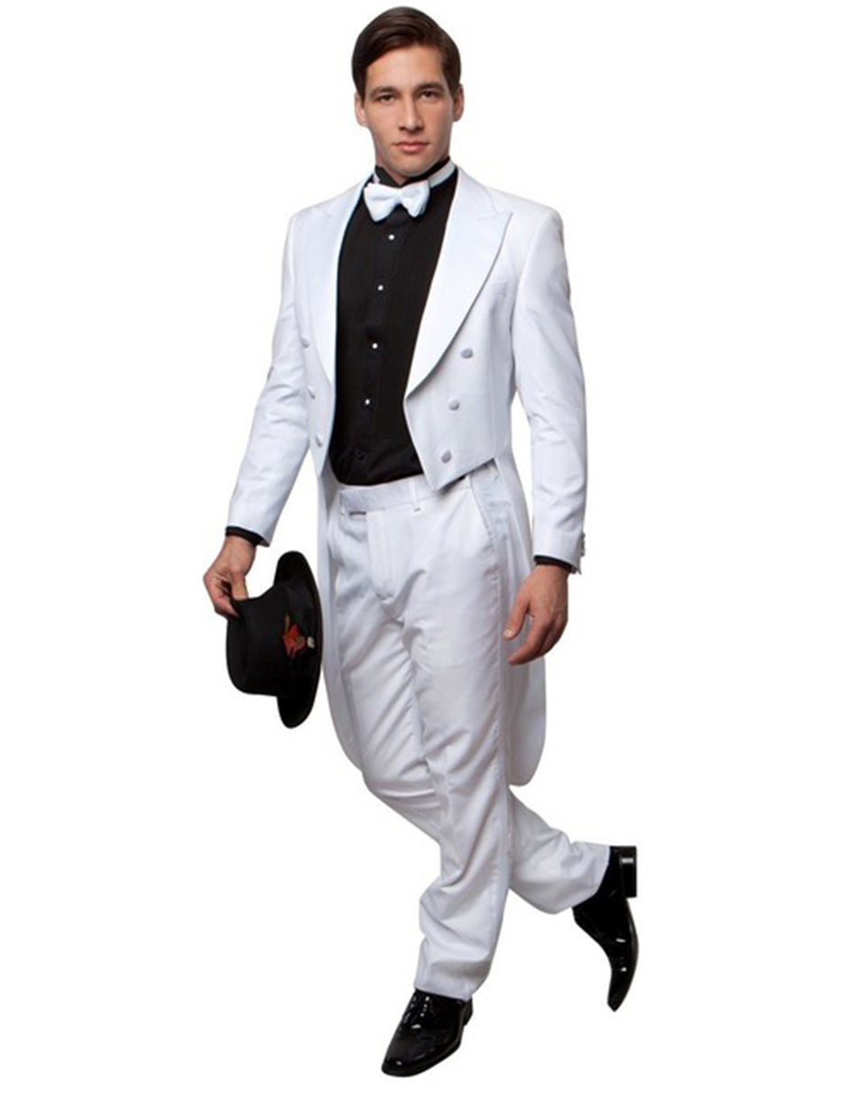 Mens Classic Wool Tail Tuxedo in White