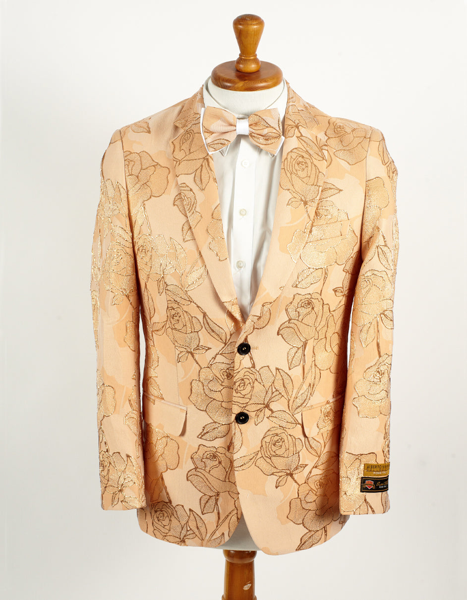 Mens Empire Prom Blazer in Gold Floral Pattern