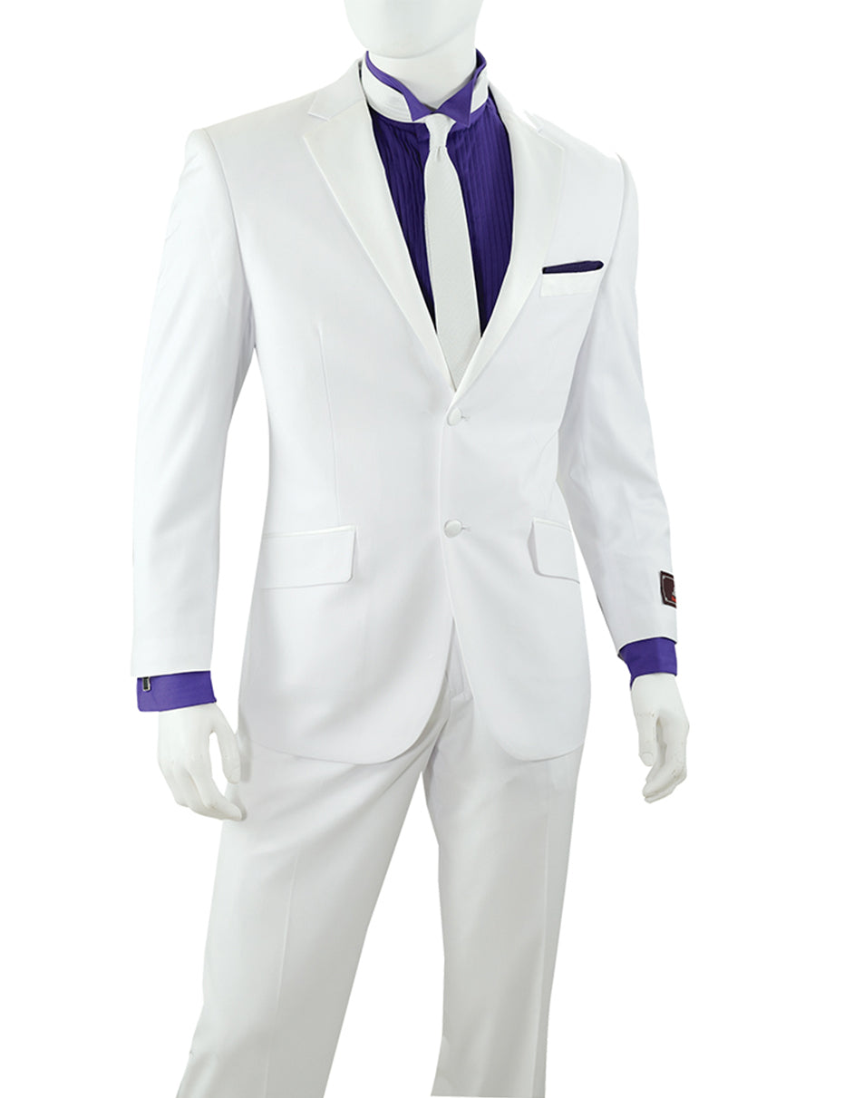 Mens Modern Fit 2 Button White Tuxedo - Prom - Wedding